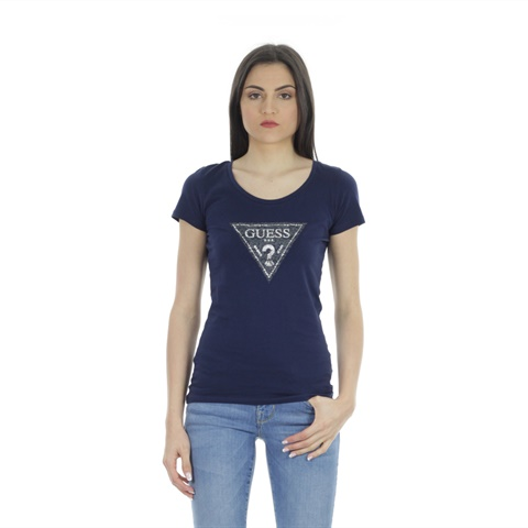 T-SHIRT LOGO IN PIZZO DONNA GUESS