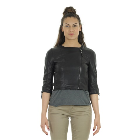 CROPPED FAUX LEATHER DONNA ONLY